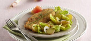 Escalope de poulet pané au Parmesan & pommes de terre Pompadour