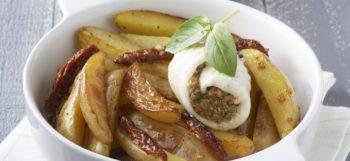 Filets de sole farcis à la tomate & pommes de terre Pompadour rissolées
