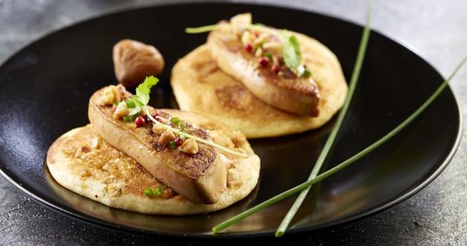 Pancakes de pommes de terre Pompadour au foie gras & châtaignes
