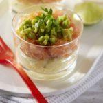 Verrines de pommes de terre Pompadour, tartare de saumon & avocat