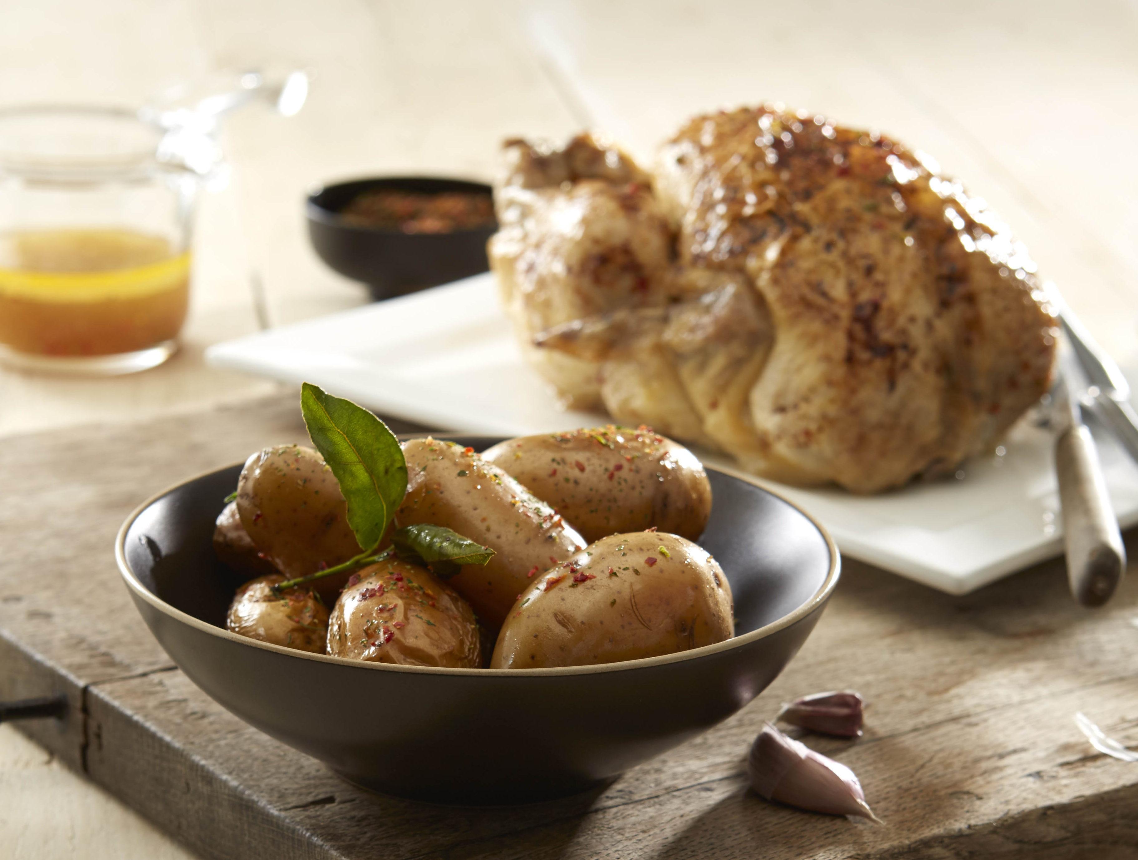 Poulet rôti & pommes de terre Pompadour fondantes