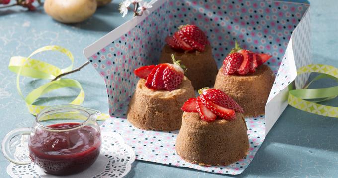 Moelleux de pommes de terre Pompadour au coulis de fraise