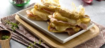 Pommes de terre Pompadour au four, fromage à raclette & lard fumé