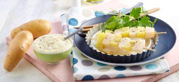 Brochettes de St Jacques et mousseline de pommes de terre Pompadour