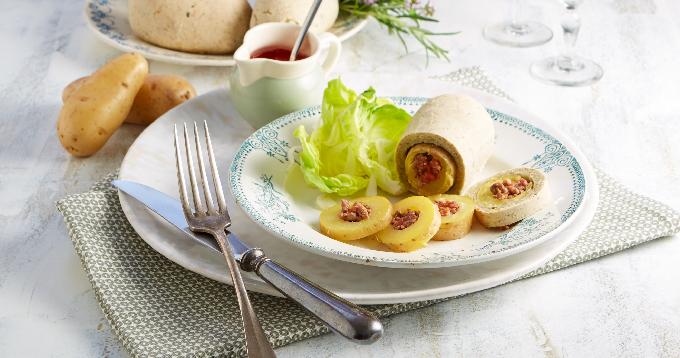 Pommes de terre Pompadour farcies en croûte de sel