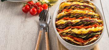 Tian de pommes de terre Pompadour aux légumes du soleil