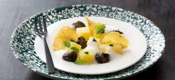 Fricassée d'escargots, pommes de terre Pompadour et crème de persil