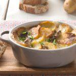 Gratin de pommes de terre Pompadour aux champignons