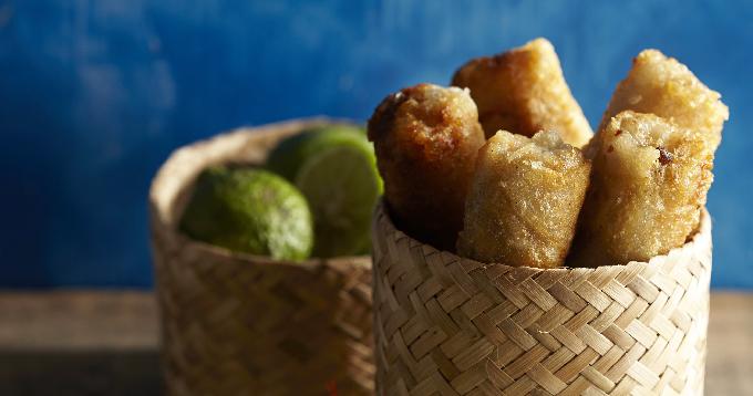 Nems aux pommes de terre Pompadour & crevettes