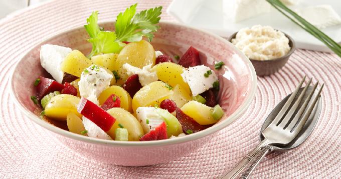 Salade de pommes de terre Pompadour au chèvre frais & betteraves
