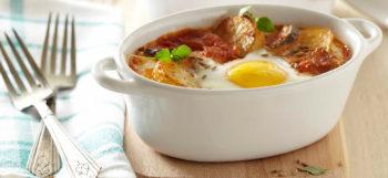 Oeufs cocotte aux pommes de terre Pompadour & ratatouille