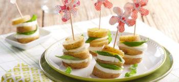 Bouchées de pommes de terre Pompadour, Mozzarella & basilic